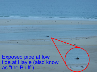 Exposed pipe at the Bluff