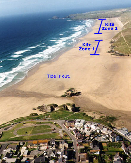 Perranporth kite zones