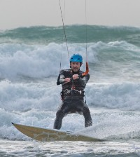 Rory at Fistral on a Duotone Neo and a Slingshot board